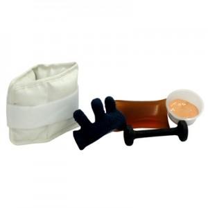 Accessoires de réadaptation : balles de mousse, pâte pour  exercices, poids