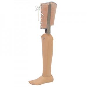 Prothèse tibiale avec cuissard en cuir